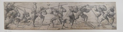 Thirteen lansquenets at various fencing exercises with swords and spears standing on a ground with a grid design containing orthogonal lines, from Douce Ornament Prints Album I