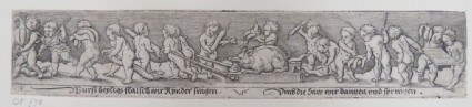 Frieze of a triumphal procession with two putti dragging a dead hog on a sled in centre surrounded by putti holding baskets of sausages, from Douce Ornament Prints Album I