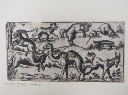 Camel at centre surrounded by nine other animals, including a donkey, rat, badger, ram, mountain goat, and lion surrounded by a limited landscape, from Douce Ornament Prints Album I