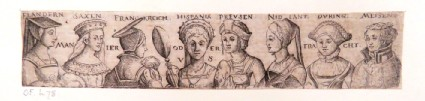 Frieze with busts of eight women from different European nationalities portrayed in a variety of poses, from Douce Ornament Prints Album I