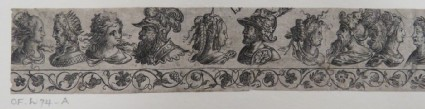 Frieze of the busts of five couples facing each other over a decorative grapevine border, from Douce Ornament Prints Album I