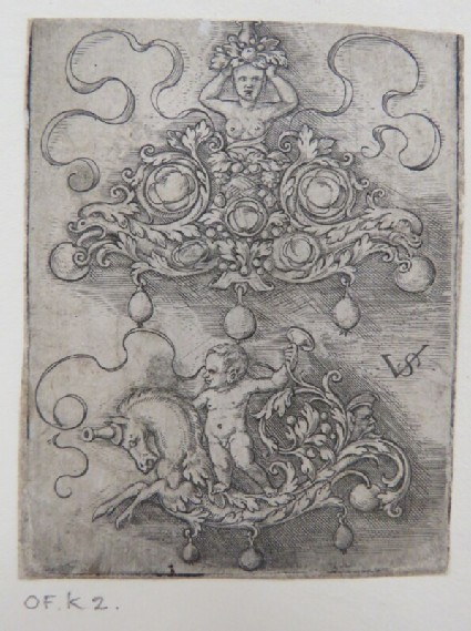 Two pendant designs, top design with bust of woman in centre of rinceaux foliage and inset gems, lower design of putto standing on back of hippocampus, from Douce Ornament Prints Album I