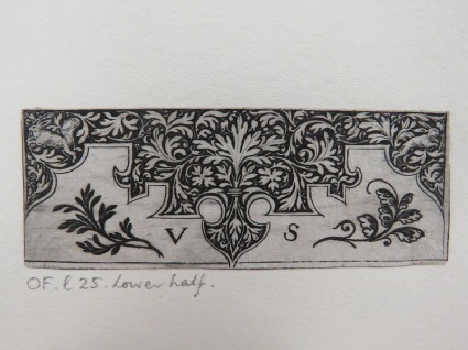Lower half of decorative ornament with pyramidal-shaped design covered with blackwork rinceaux foliage with rabbits in corners with decorative foliage below, from Douce Ornament Prints Album I