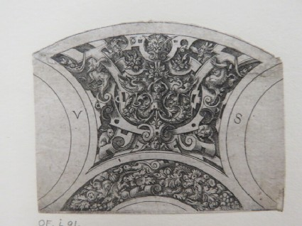 Design for two segments of a bowl rim with top segment decorated with strapwork and grotesque foliage with herm in centre and lower with foliage and fruit, from Douce Ornament Prints Album I