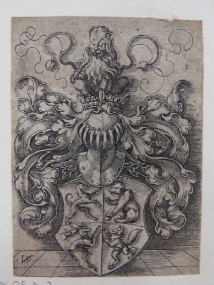 Coat of arms with a greyhound, a bear, a stag, and a fox surmounted by a helmet with a lion with a double tail sitting on a crown surrounded by rinceaux foliage, from Douce Ornament Prints Album I