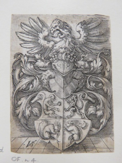 Coat of arms with a monkey, a leopard, a squirrel, and a hare surmounted by a helmet with a large eagle with open beak on top surrounded by rinceaux foliage, from Douce Ornament Prints Album I