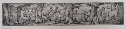 Frieze with Orpheus sitting in forest playing music to the animals that surround him, including exotic animals like a unicorn, lion, and camel, from Douce Ornament Prints Album I