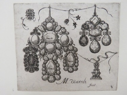 One large pendant with three teardrop faceted gems with one drop of the design shaded, surrounded by two other pendants, each partially shaded with gems, from Douce Ornament Prints Album I