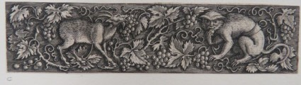 Frieze with monkey and goat in centre eating grapes from the scrolling vines filled with bunches of grapes that surround them on a black ground, from Douce Ornament Prints Album I