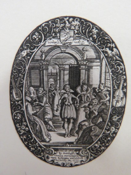 The ball of the Dancing Lesson, central area with couple holding hands, musicians on right and banqueters on left, inisde of an arcade with decorative border, from Douce Ornament Prints Album I