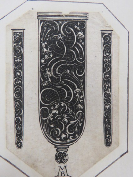 Three ornament designs for sword hilt shown from sides and front, decorated with foliate arabesque scrolls on black ground, from Douce Ornament Prints Album I