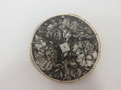 Small medallion possibly for a box lid or watch case decorated with flowers with a small undecorated diamond in centre, from Douce Ornament Prints Album I