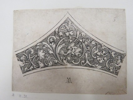 Border for dish in shape of a triangle, decorated with rinceax design with bird in center of foliage with a deer on the right and a lion on the left, from Douce Ornament Prints Album I