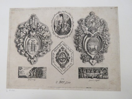 Coat of arms in left and right escutcheons, center medallion of seated mother and children, below freezes with Elisir and Rebecca and the Marraige at Cana, from Douce Ornament Prints Album I