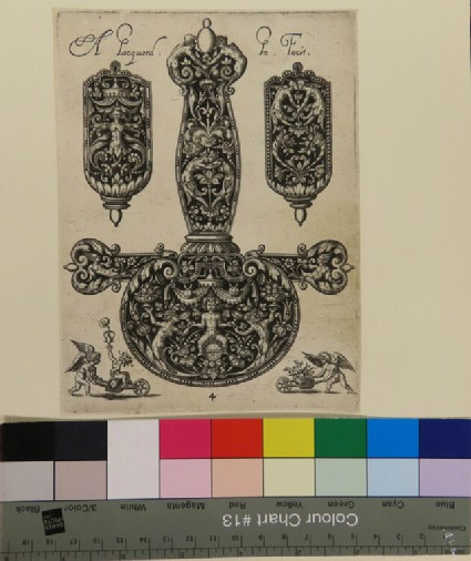Plate 4: Sword handle with the tip of the sword sheath on either side, with a putto with a wheelbarrow at bottom corners, from Douce Ornament Prints Album II