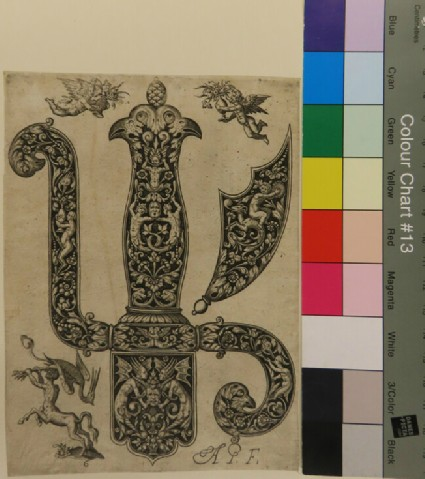 Plate 6: Sword handle with the dagger hilts and pommels at right, two putti holding vases at upper margin, a satyr catching a pelican at lower left, from Douce Ornament Prints Album II