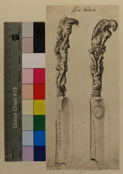 Two designs for knife handles composed of grotesques and naked male figures, after Cherubino, from Douce Ornament Prints Album II
