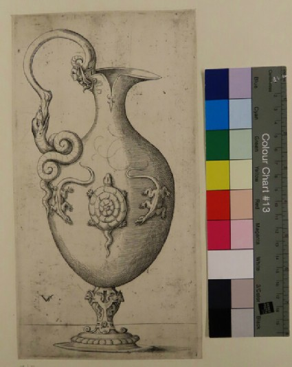Design for an ewer, with handle to left, a tortoise and two lizards on the body, from Douce Ornament Prints Album II