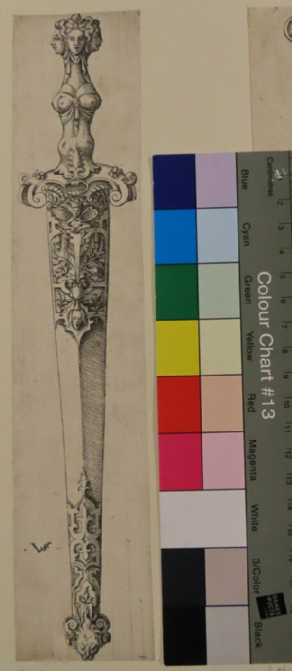 Design for a knife with heads of three women, from Douce Ornament Prints Album II