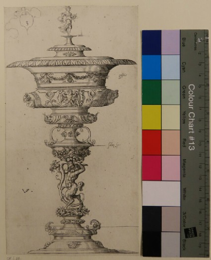 Plate 3: Design for a goblet with lid, crowned by Ceres, from Douce Ornament Prints Album II