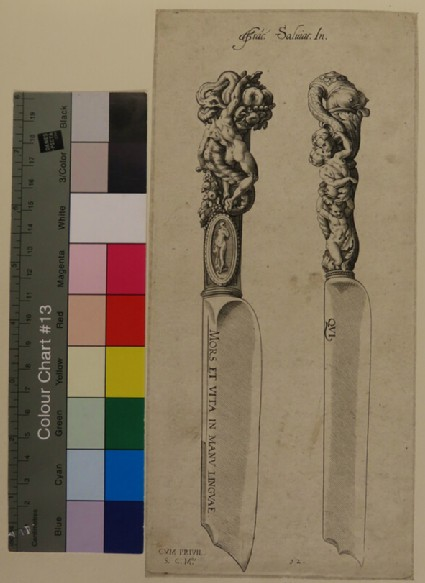 Two designs for knife handles composed of grotesques and naked female figures, after Cherubino, from Douce Ornament Prints Album II