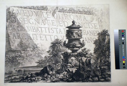 Frontispiece to 'Vedute di Roma', with the title lettered on a large antique stone fragment, with ruins and foliage in the foreground, including a fountain, an urn and column fragments