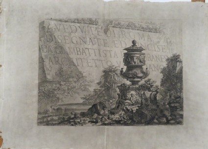 Title-page to Piranesi's 'Vedute di Roma' comprising a stone inscribed with the title, below a classical vase and ancient ruins
