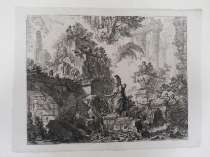 Frontispiece to Piranesi's 'Vedute di Roma', representing a fantasy of ruins with a statue of Minerva in the centre foreground