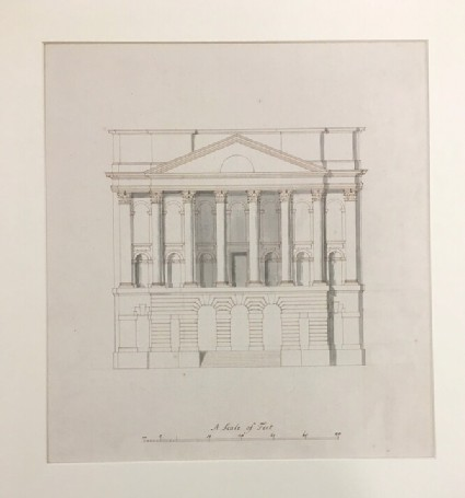 Design for the Radcliffe Library, attached to the Selden End: side elevation, showing portico