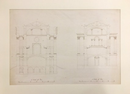 Design for a rectangular building attached to the Selden End: section, looking east, showing basement beneath ground floor and porticoes on first floor