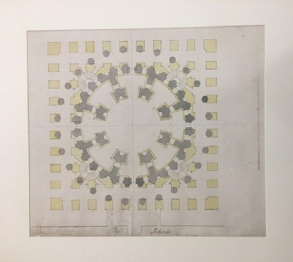 Design for the Radcliffe Library: plan for the ground and first floors combined of a circular building on a square base, attached to the south side of the Schools Quadrangle,