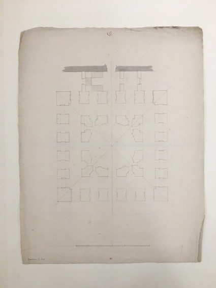 Design for the Radcliffe Library: ground-floor plan for a circular building on a square base attached to the south side of the Schools quadrangle