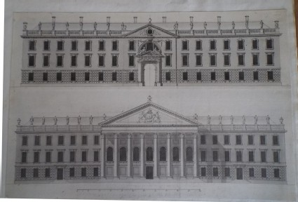 Designs for two façades of the buildings for King's College at Cambridge