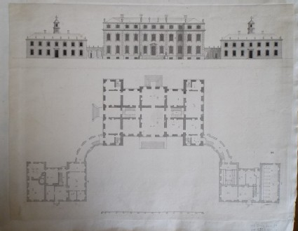 Design for the elevation and plan of a house for the 'Right Honourable the Earl of Litchfield, at Ditchley in Oxfordshire'