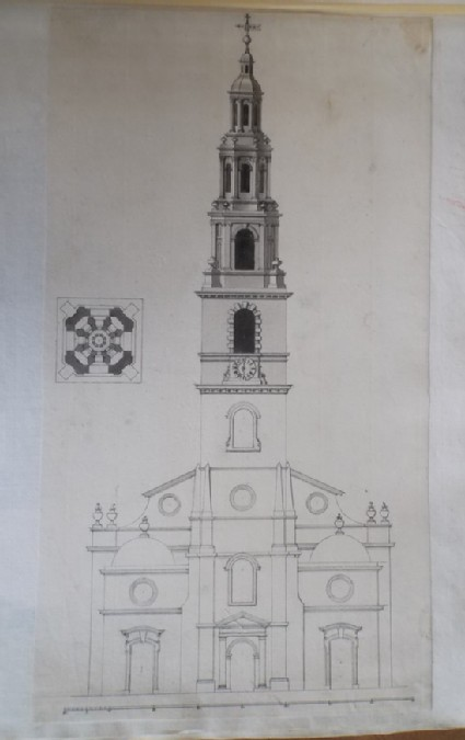 Design for the elevation and plan for the 'Steeple of St Clement Danes'