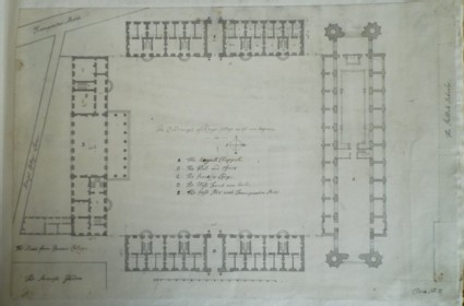 Plan for 'The Quandrangle of King's College as its now Begune'