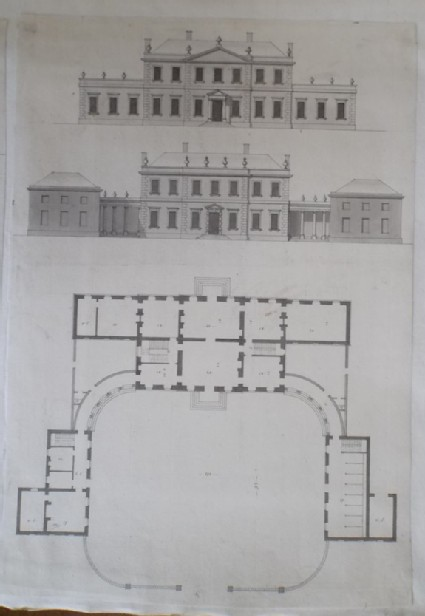 Design for the garden front, the front on the court and the plan of a house 'for a Gentleman in Essex'