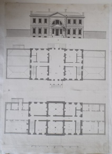 Design for the upright, first floor plan, and basement plan of the third draught for a house for 'the Rt Hon. the Earl of Ilay for his Villa at Whitton near Hampton Court'