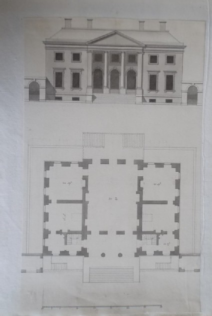 Design for the upright and plan of the first draught 'made for the Right Honourable the Earl Ilay for his Villa at Whitton near Hampton Court'