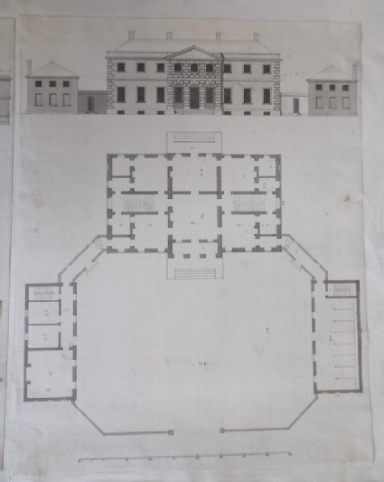 Design for the upright and plan of a house for a 'Gentleman in Dorsetshire'