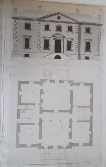 Design for the upright and plan of a country house 'made for a Gentleman in Yorkshire'