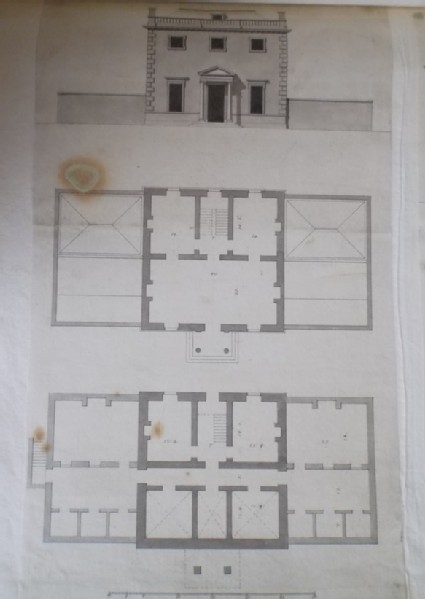 Design for the upright, first floor and basement plans of the second draught of a house for the 'Right Honourable the Earl Ilay for his Villa at Whitton near Hampton Court'