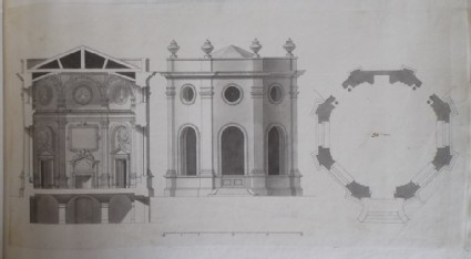 Design for the section, upright, and plan of a 'Room built by the Honourable James Johnson Esq. at Twickenham' (Orleans House)
