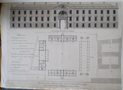 Design for 'The General plan of King's College as it is intended with the upright of the West side of ye Quadrangle towards ye River'
