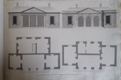 Two designs for the uprights and plans of a building 'for the Menagery at Hackwood'