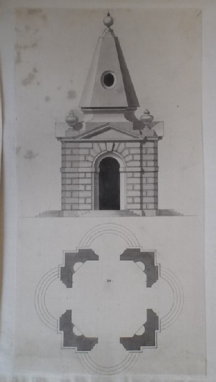 Design for the upright and plan of 'two Pavillions at Stow'