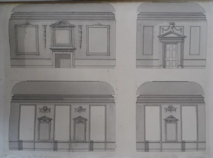 Design of the uprights of four walls for a room with a coved ceiling