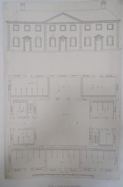 Drawing for the first floor plan and one upright of Compton Verney House, Warwickshire
