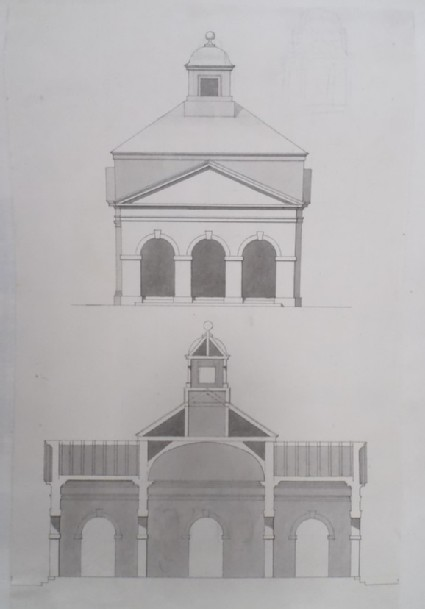 Design for the upright of the end and section of the Temple of Friendship at Stowe