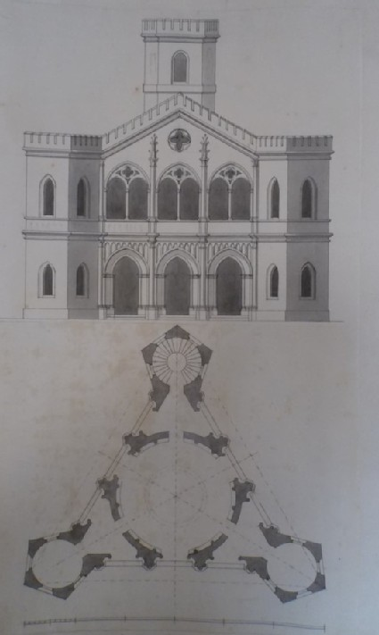 Design for the upright and the plan for the Gothic Temple at Stowe